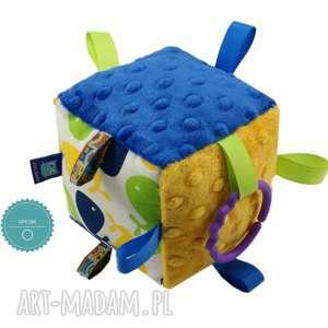 handmade zabawki kostka sensoryczna gryzak, wzór wieloryby