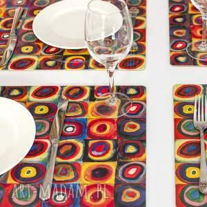 kolorowa podkładka korkowa, kwadraty i koła kandinskyego, podkładka, dla domu