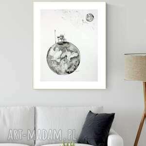 grafika 40x50 cm wykonana ręcznie, abstrakcja, styl skandynawski