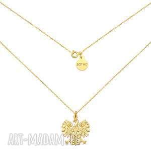 złoty naszyjnik z orłem - żółty, łańcuszek