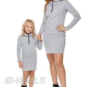 mama i córka sukienka dla córki ld7 2 - sukienka, dresowa, komin, zsznureczkiem