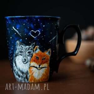 handmade kubki porcelanowy kubek do kawy z wilkiem i lisem, malowana porcelana