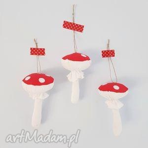 dekoracje zawieszki muchomorki 3 sztuki, muchomorki, zawieszki, bombki, las