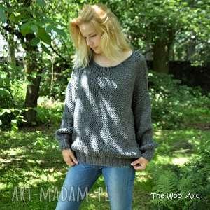 big sweter, wełniany wełniany, na drutach, ubrania