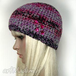 Melanż kolorów - czapka z różowymi oczkami, czapka, oczka, kolorowa, ciepła, zgrabna