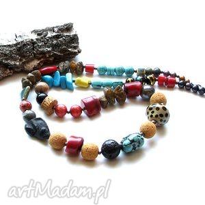 korale boho mix, hippi, długie, kolorowe, rtno