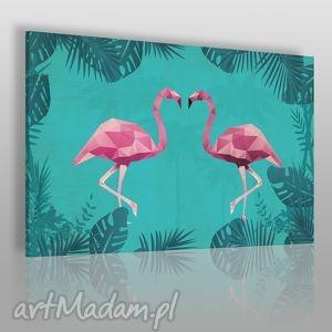vaku dsgn obraz na płótnie - flamingi geometryczny 120x80 cm 36901