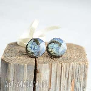 Niebiesko-czarne - kolczyki sztyfty ręcznie malowane, sztyfty, wkrętki, drewniane
