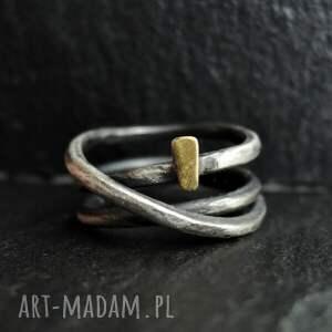 złoty akcent v, pierścionek srebro złoto