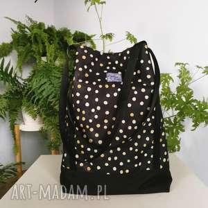 torebka czarna kordura kropeczki - ,torba,torebka,czarna,kropki,grochy,jesienna,