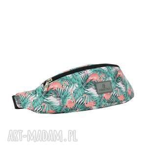 nerka / saszetka damska 1096 flamingi, nerka, printy, modna, rękodzieło