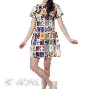 kolorowa, niezwykła tuniko-sukienka, niespotykany print w karty, 100 bawełna