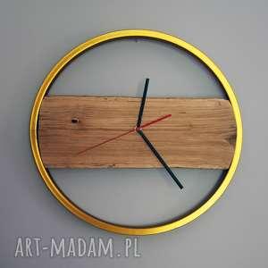 zegar gold wood, drewiany, drewna, rustykalny, naturalny, prezent, urodzinowy