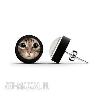 kolczyki drewniane - kot tygrysek sztyfty, czarne, kolczyki, sztyfty