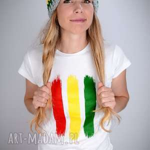 Koszulka biała rasta - damska koszulki laczapakabra rasta