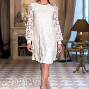 świąteczny prezent, sukienka crystal, cywilny, ślub, koronkowa, kremowa, ślubna