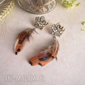 długie kolczyki z piórami, kolczyki, boho, boho biżuteria