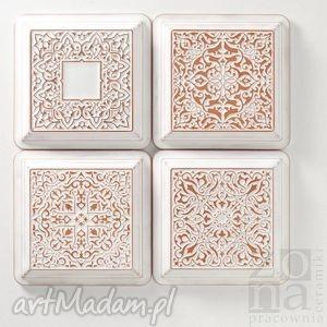 dekory białe z ramą cztery ornamenty, kafle, dekory, kafelki, ścienne, dekoracyjne