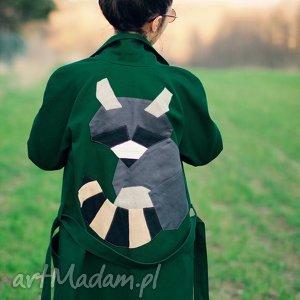 Zielony szop płaszcze monika jaworska trench, szop, butelkowa