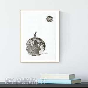 grafika A4 malowana ręcznie, minimalizm, abstrakcja czarno-biała, plakat-księżyc