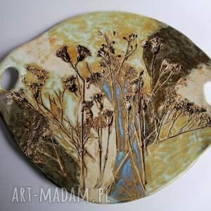handmade ceramika duża patera bukiet urodzinowy