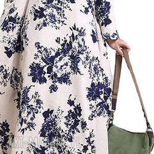 lniana sukienka dla puszystej pani, len, drukowana, bawełna, lato, mama, kwiaty