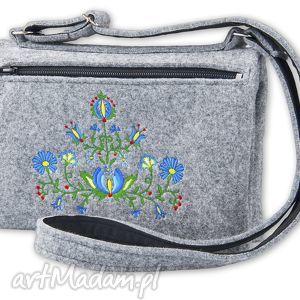 filcowa torebka podwójna - kwiaty t101004, torebka, filcowa, haft, kaszubski