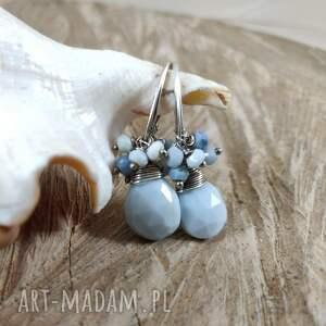 prezent na święta, opal niebieski kolczyki, opal