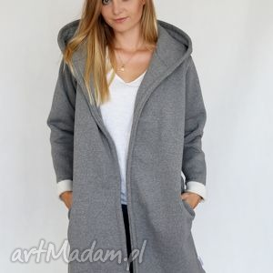 hand-made płaszcze l - xl płaszcz z kapturem szary melan&#380