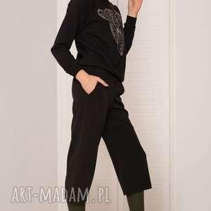 spodnie czarne kuloty, spodnie, czarne, wygodne, uniwersalna