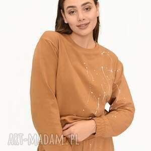 bluza happy karmel malowana, karmel, modna bluza, chlapana farba