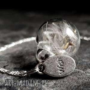 925 Sterling ♥ Dmuchawiec Naszyjnik, dmuchawiec, nasiona, natura, szkło, elegancja
