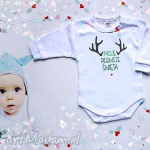 handmade pomysł na świąteczne prezenty moje pierwsze święta 62 cm - body dla niemowlaka