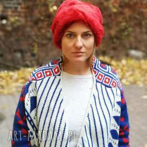 damska futrzana czapka czerwona odcień bordo-wszystkie organy oddała gdy się