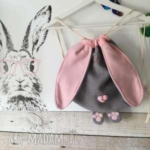 plecak króliczek dla przedszkolaka, plecak, worek, przedszkole, kapcie