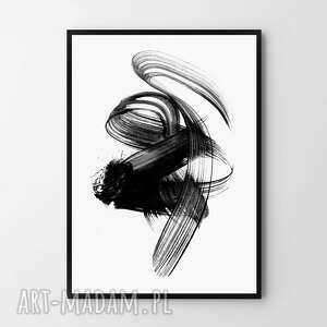 plakat obraz brush 50x70 cm b2, czarno biały, grafika, plakat