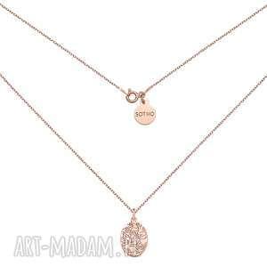 sotho medalion z różowego złota art n2, pozłacany, naszyjnik, łańcuszek, różowe