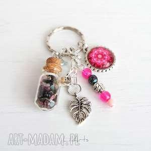 Breloczek - różowa mandala fiolka, turmalin breloki liliarts