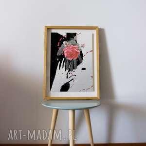 Oryginalna Grafika A3 Róża na dłoni, ilustracja, grafika, róża, oryginalna, kolaż