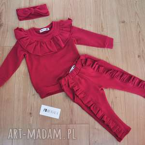 Komplet dresów z falbanką dla dziewczynki 68-110, dres, falbanki, spodnie, legginsy