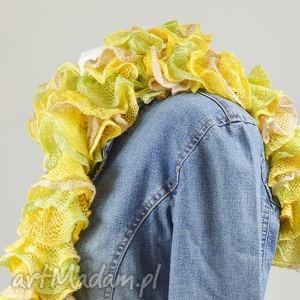 fantazyjny szal - słoneczny, otulak, kobiecy, żółty, ciekawy, miękki