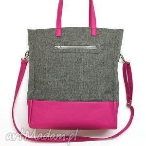 handmade na ramię shopper bag - tkanina szara i skóra fuksja
