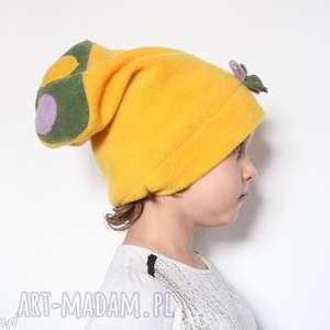czapka dziecięca polarowa zółta miękka, dziecko, etno, polar, boho, kolorowa