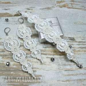 Komplet biżuterii ślubnej - długie kolczyki i bransoletka, biżuteria-ślubna