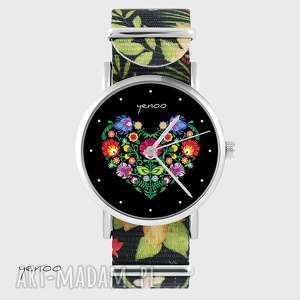 handmade zegarki zegarek - serce folkowe kwiaty, nato