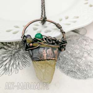 ręcznie robione naszyjniki cytryn - naszyjnik z surowym cytrynem i kamieniami