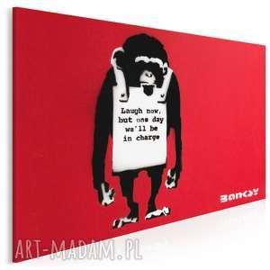 obraz na płótnie - banksy małpa 120x80 cm 20002, małpa, banksy, napisy
