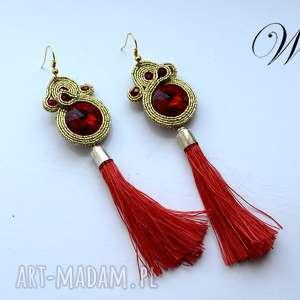 kolczyki sutasz czerwono zŁote z chwostami - sutasz, kolczyki, eleganckie, modne