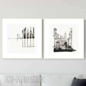 plakaty zestaw 2 grafik 30x30 cm wykonanych ręcznie, abstrakcja, 2690232, obraz