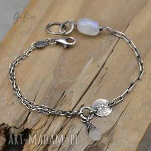 srebrna bransoletka z kamieniem księżycowym - 165, moonstone, kamień księżycowy